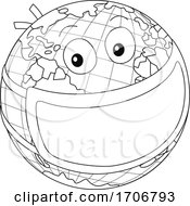 Poster, Art Print Of Black And White Earth Mascot Wearing A Covid Mask