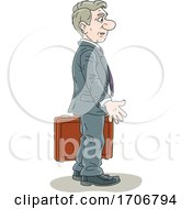 Cartoon Business Man Carrying A Briefcase