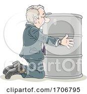 Cartoon Business Man Hugging An Oil Barrel