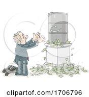 Cartoon Business Man Crying To An Oil Barrel