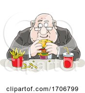 Cartoon Fat Politician Eating A Burger