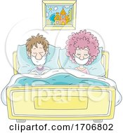 Covid19 Coronavirus Couple In Bed Wearing Masks
