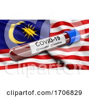 Flag Of Malaysia Waving In The Wind With A Positive Covid 19 Blood Test Tube