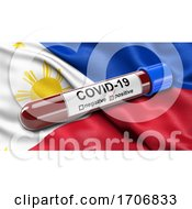 Flag Of Philippines Waving In The Wind With A Positive Covid 19 Blood Test Tube
