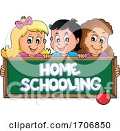 Children Over A Home Schooling Chalkboard