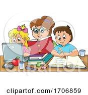 Mother Home Schooling Her Children