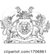Poster, Art Print Of Crest Horse Unicorn Coat Of Arms Lion Shield Seal