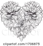 Poster, Art Print Of Heart Flower Love Floral Engraved Etching