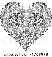 Heart Love Floral Woodcut Vintage Etching