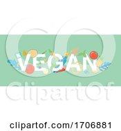 Vegan Banner Design With Food On Green