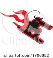Black And Red Snowboarding Devil