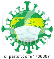 Green And Yellow Coronavirus Earth Mascot Wearing A Mask