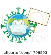 Coronavirus Earth Mascot Wearing A Mask And Holding A Blank Sign
