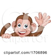 Monkey Cartoon Animal Behind Sign Waving