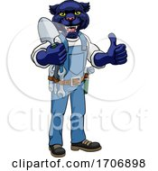 Poster, Art Print Of Panther Gardener Gardening Animal Mascot