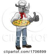 Rhino Pizza Chef Cartoon Restaurant Mascot