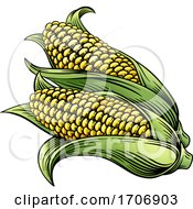Poster, Art Print Of Sweet Corn Ear Maize Woodcut Etching Illustration