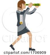 04/13/2020 - Telescope Spyglass Woman Business Concept