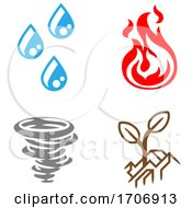 Four Elements Earth Water Air Fire Icon Set by AtStockIllustration