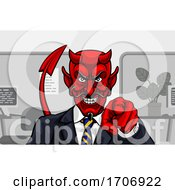 Devil Evil Businessman In Suit Pointing