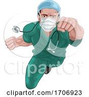 04/11/2020 - Superhero Nurse Doctor In Scrubs Flying Super Hero