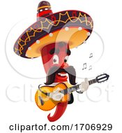 Mexican Chili Pepper Masoct Playing A Guitar