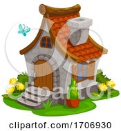 Cute Cottage And Butterfly by Vector Tradition SM
