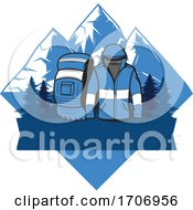 Hiking Gear And Mountains Logo by Vector Tradition SM