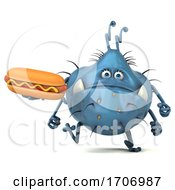 3d Blue Germ Virus On A White Background