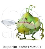 3d Green Germ Virus On A White Background