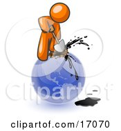 Orange Man Using A Shovel To Drill Oil Out Of Planet Earth Clipart Illustration