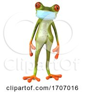 3d Green Frog Wearing A Mask On A White Background