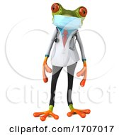 3d Green Doctor Frog Wearing A Mask On A White Background