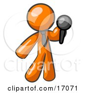 Orange Man A Comedian Or Vocalist Wearing A Tie Standing On Stage And Holding A Microphone While Singing Karaoke Or Telling Jokes Clipart Illustration by Leo Blanchette
