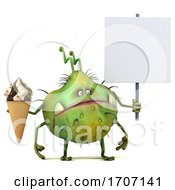 3d Germ Virus On A White Background