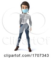 3d Breton Woman Wearing A Mask On A White Background