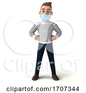 3d Breton Man Wearing A Face Mask On A White Background