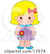 Cute Blond Caucasian Girl Wearing A Purple Floral Dress Clipart Illustration