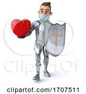 Poster, Art Print Of 3d Caucasian Male Armored Knight Wearing A Mask On A White Background