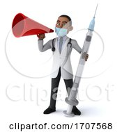 3d Young Black Male Doctor Wearing A Mask On A White Background
