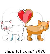 Two Cats One White One Orange Standing Tail To Tail And Forming A Heart Symbolizing Love On Valentines Day Clipart Illustration