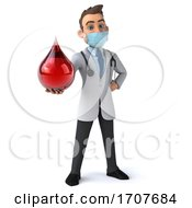 3d Young White Male Doctor Wearing A Mask On A White Background