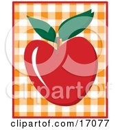 Yummy Red Apple With A Stem And Two Green Leaves Over A Checkered Background Clipart Illustration
