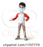 3d Asian Boy Wearing A Mask On A White Background