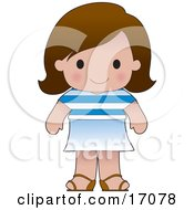 Cute Greek Girl Wearing A Flag Of Greece Shirt Clipart Illustration