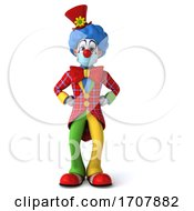 3d Clown Wearing A Face Mask On A White Background