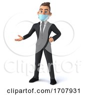 3d White Business Man Wearing A Face Mask On A White Background