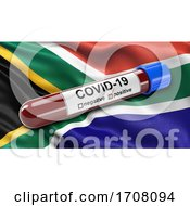 Flag Of South Africa Waving In The Wind With A Positive Covid19 Blood Test Tube