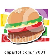 Fast Food Hamburger With Lettuce And Tomato Clipart Illustration