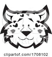 Cartoon Black And White Leopard School Sports Mascot Face
